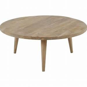 Table En Bois Ronde : table basse ronde en bois stockholm hanjel initial d co ~ Preciouscoupons.com Idées de Décoration