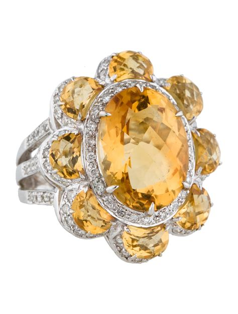 citrine diamond flower ring jewelry fjr