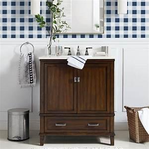 Dorel, Living, Otum, 30, Inch, Bathroom, Vanity, With, Sink, Dark, Walnut, Wood, -, Walmart, Com
