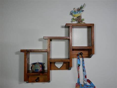 mahogany wood  tier shelf rack shadow box  peg carve heart decorative wall organizer unit hat