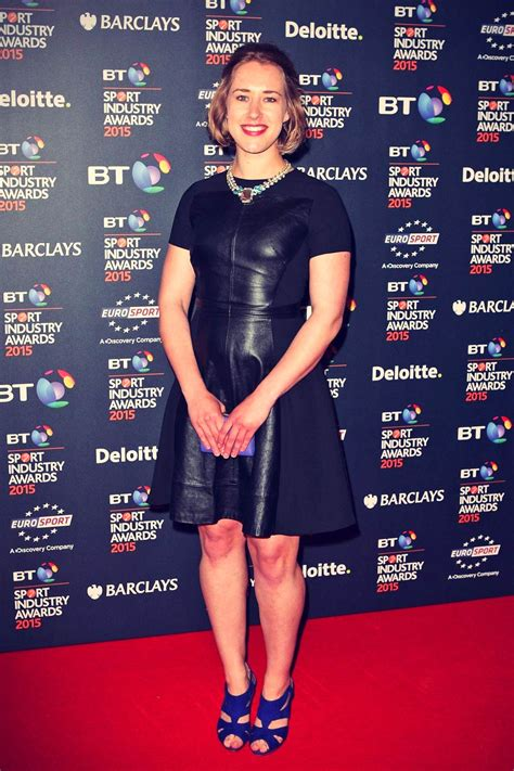 lizzy yarnold attends bt sport industry awards leather