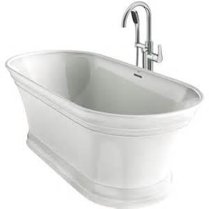 54x27 bathtub center drain shop lyndsay white acrylic oval freestanding