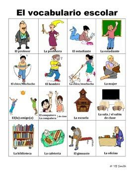 spanish classroom  school vocabulary picture notes set