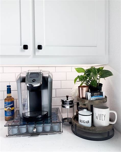 This kitchen counter coffee bar and beverage station project is one for both my fellow coffee lovers & organizing enthusiasts! Coffee bar ideas kitchen counter #kitchendecor #coffeebar #coffeestation #keurig   Coffee ...