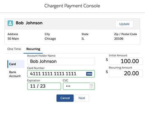 Recurring billing supports credit card and ach accounts. One Time Payments and Recurring Payments