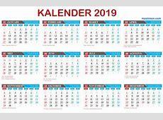 Template Kalender 2019 Vektor lengkap tanggal Hijriyah