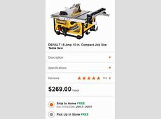 DeWalt DW745 Compact Table Saw On Sale For $269 At