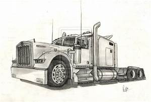 Pin Kenworth Truck Pencil Drawing Pictures on Pinterest