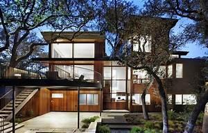 Wood And Limestone House Built Among Trees