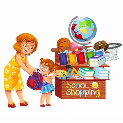 Student Vector Clip Things Try Shopping Cartoon