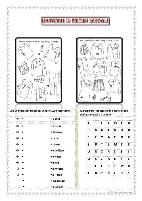 School Uniforms Worksheet  Free Esl Printable Worksheets Made By Teachers