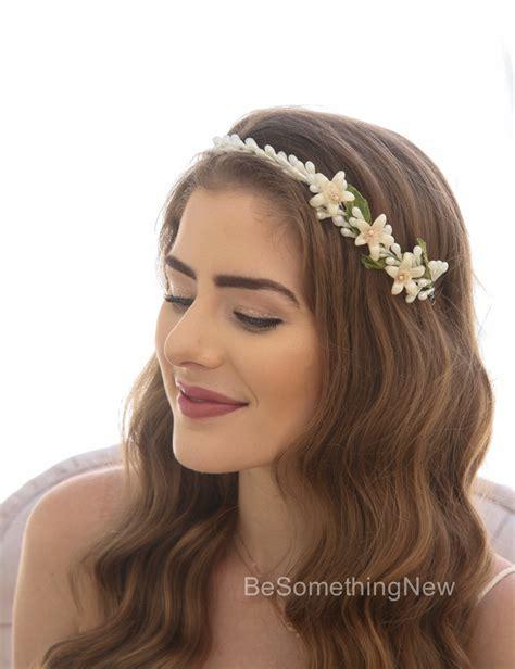 Simple Vintage Wax Flower Tiara Wedding Headpiece Be