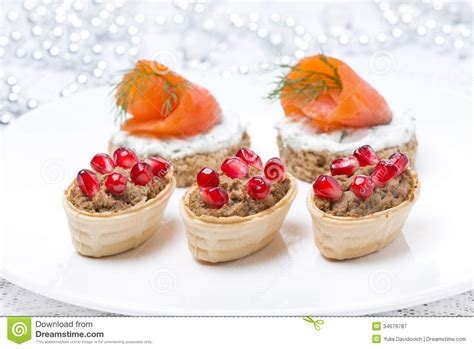 pate canapes appetizers canape with salmon tartlet with