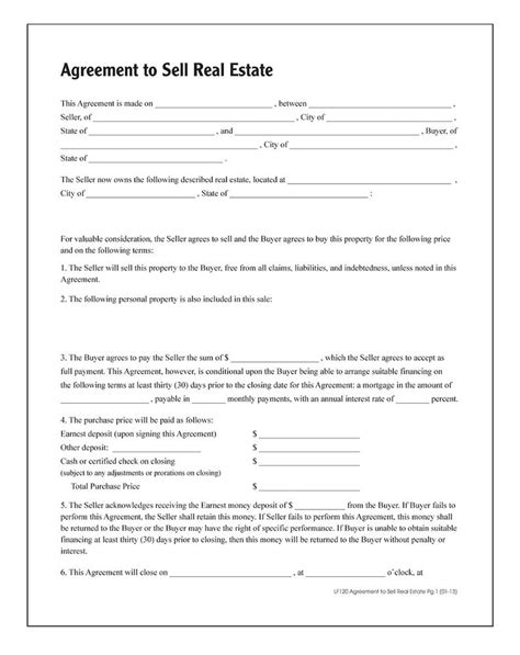 agreement  sell real estate forms  instructions