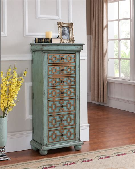 Blue Jewelry Armoire by Keller Blue With Gold Jewelry Armoire From Coast To Coast