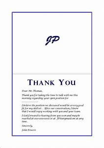 Example thank you card after interview letters free for Thank you card letter
