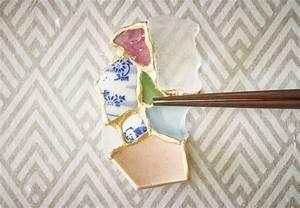 Broken ceramics found on the beach turned into chopstick for Kintsugi chopstick rests