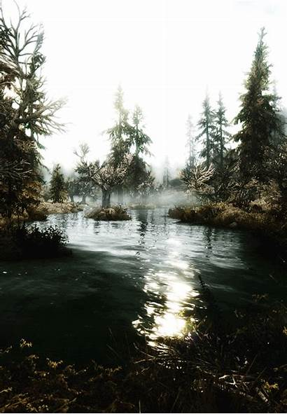Nature Animated Waters Scenery Gifs Lake Misty