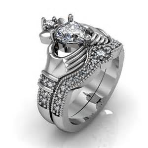 claddagh wedding ring sets claddagh ring sterling silver cubic zirconia and friendship engagement ring set 2219187