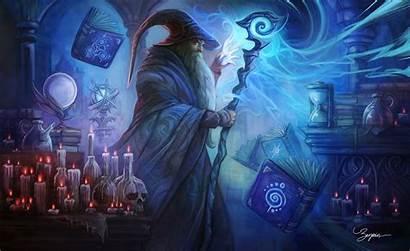 Wizard Magic Fantasy Artwork Books Skull Candle