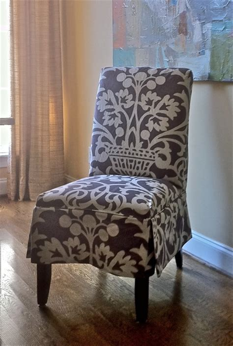 slipcover  parsons chair eclectic living room