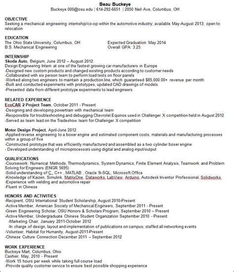 resume format resume format for international students