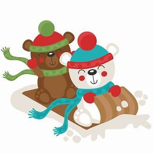 Christmas Polar Bear Sledding SVG scrapbook cut file cute ...