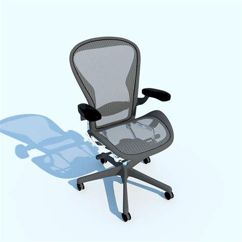 aeron work chair herman miller 3d model max obj 3ds