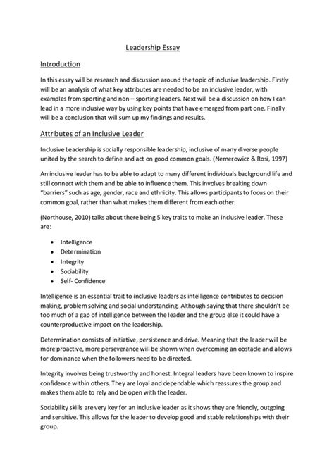 leadership essay writing guide  students