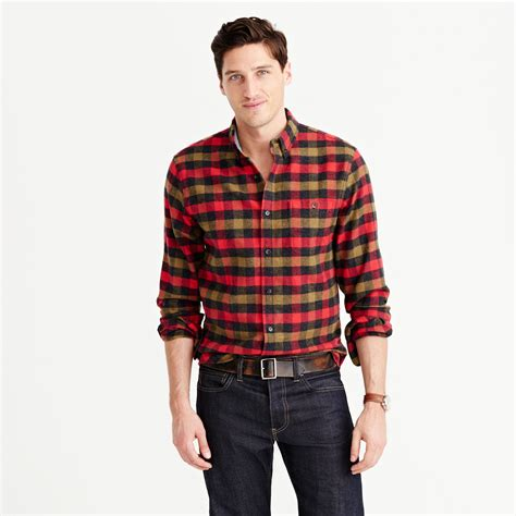 Rugged Boots Men by J Crew Cotton Wool Elbow Patch Shirt In Warm Red