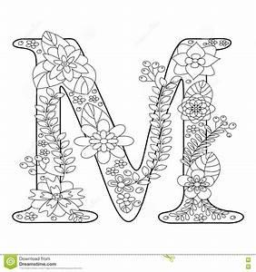 Malbuch Des Buchstaben M Fr Erwachsenvektor Vektor