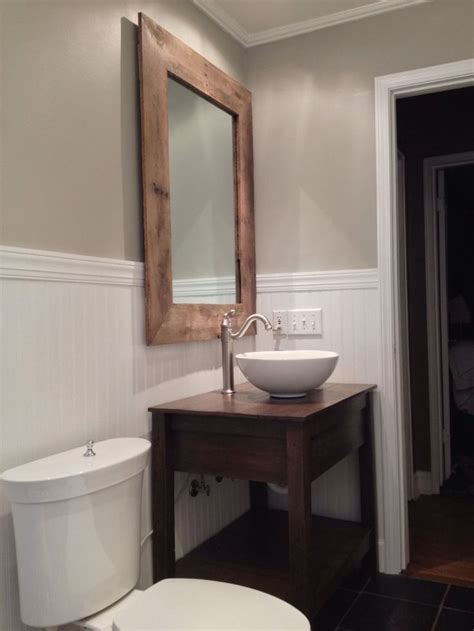 custom rustic reclaimed wood vanity and mirror pallet