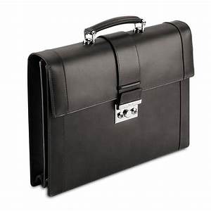 Pineider Power Elegance Men's Black Leather Briefcase ...