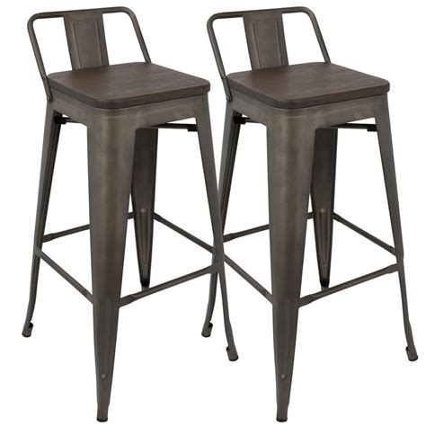 vintage bar stools with backs lumisource oregon low back barstool set of 2 for in 8822