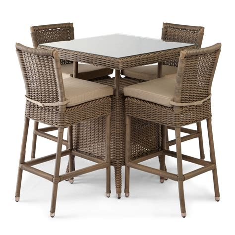 patio table chairs alcee resin wicker patio 5 bar table and chair set