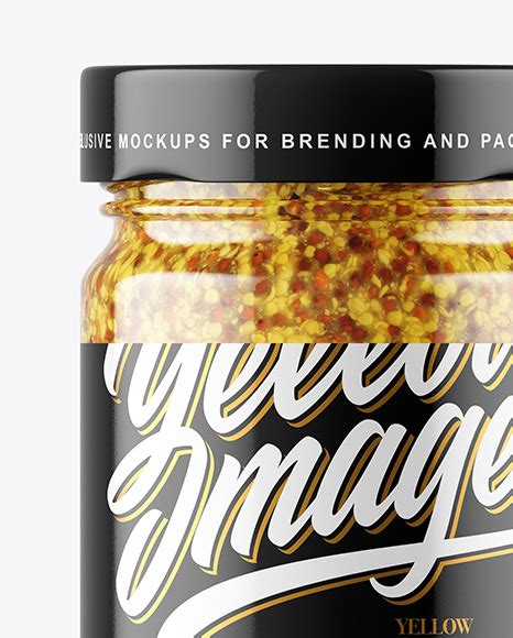 The best bottle mockups free download for your next project. Clear Glass Jar With Wholegrain Mustard Sauce Mockup ...