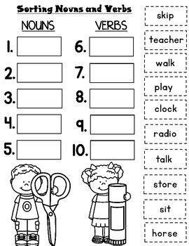 nouns  verbs worksheets  images nouns  verbs