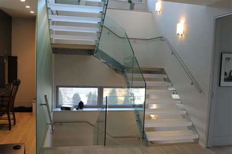 shaped stair  acrylic treads  glass railing