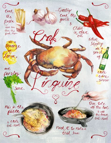 illustration cuisine crab linguine recipe illustration leona beth pearson 39 s