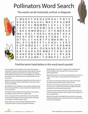 Answer Garden Search by Flowers In Pollinators Word Search Worksheet