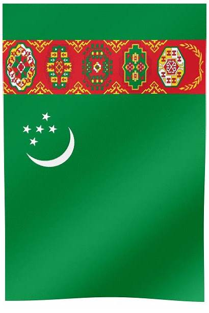 Flag Turkmenistan Waving Vertical Flags Capital