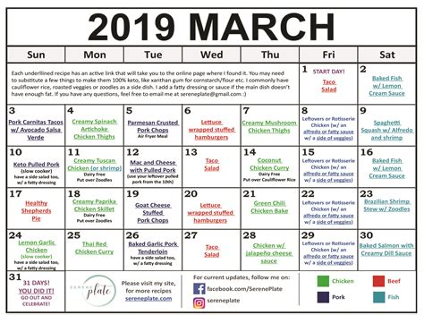 march keto meal plan heatlhy  carb diet serene plate