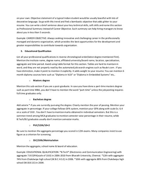 personal statement for resume for freshers the ultimate resume guide for freshers