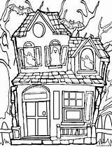 Haunted Coloring Pages Printable sketch template