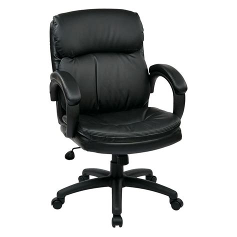 work smart black eco leather mid back executive office