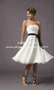 wholesale strapless cheap simple short wedding dress white With black and white short dresses for weddings