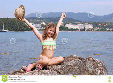 Little Girl On Summer Vacation Corfu Greece Stock Photo