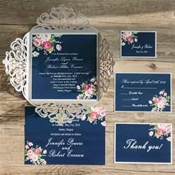 navy wedding invitations navy blue floral silver laser cut invitations ewws090 as low as 2 09