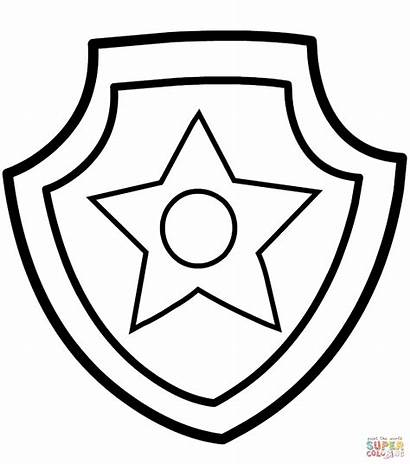 Paw Patrol Chase Badge Cake Stencil Supercoloring