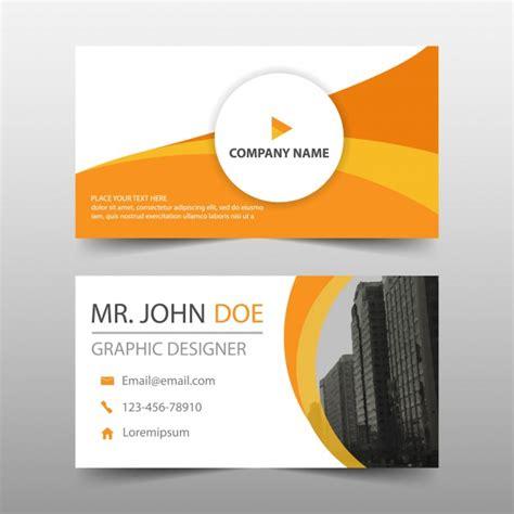 orange business card  modern shapes vector